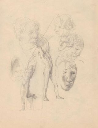 "Figure studies, pencil sketches. With drawing and artist's stamp on verso. (8.25"" x 12.5'). Pavel..."