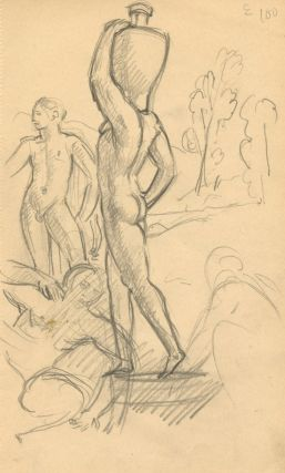 Pencil sketch of two men embracing (various sizes). Please inquire for other similar works. Gaston GOOR.