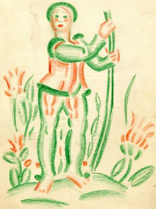 "Pencil sketch of man in green and orange. (4"" x 5.5""). Mounted on a card from Galeries Mosser..."