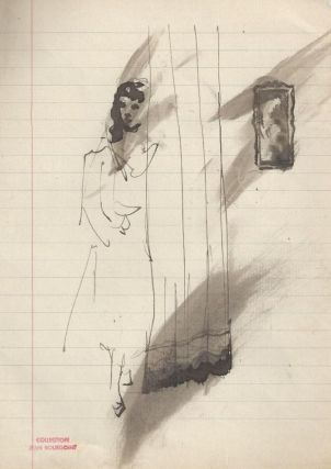 Woman at curtain, with frame in background. From the Jean Bourgoint collection. Christian BERARD