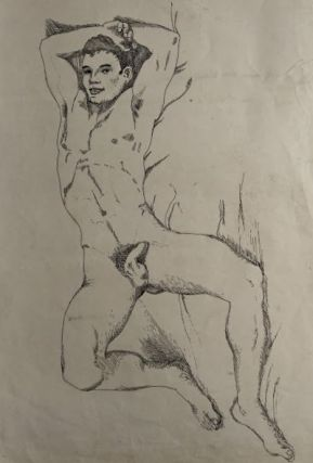 "Original pen and ink of recumbent male nude (20"" x 14""). John BARRINGTON."