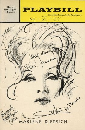 "Playbill from the November 20, 1968 production of Alexander Cohen's ""Marlene Dietrich"" Marlene..."