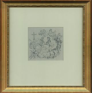 An original pen and ink drawing of two young lovers. Philippe JULLIAN